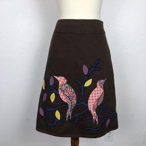 Boden Cotton A Line Bird Embroidered Skirt